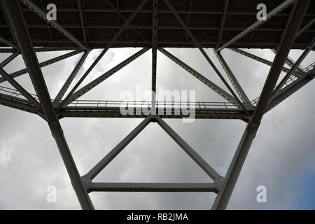 Steel metal bridge support girders and crossbeams of the Harbor Bridge in Corpus Christi, Texas. - Stock Photo