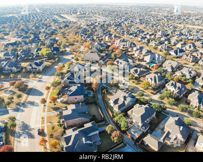 Top view row of single family houses in residential area with fa - Stock Photo