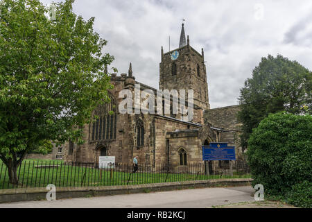 St Mary's church Wirksworth, Derbyshire, UK; mostly 13th century with some Anglo Saxon survivals, restored ion 1870 by Sir Gilbert Scott. - Stock Photo