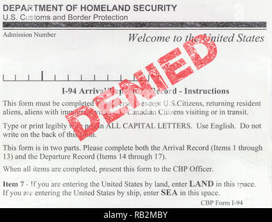 Detail Of A Denied USA Immigration Customs And Border Protection Form (I-94) - Stock Photo