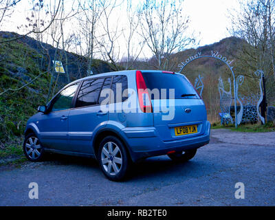 Derbyshire, UK. 06th Jan, 2019. Derbyshire, UK. 6th Jan 2019. An abandoned light blue Ford Fusion + car parked at Stoney Wood entrance, Wirksworth, Derbyshire, since the New Year has been reported to the Police as possible missing persons or abandoned vehicle, it's near the potentially dangerous old Tarmac Middle Peak Quarry workings Credit: Doug Blane/Alamy Live News Credit: Doug Blane/Alamy Live News - Stock Photo