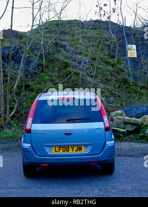 Derbyshire, UK. 06th Jan, 2019. An abandoned light blue Ford Fusion + car parked at Stoney Wood entrance, Wirksworth, Derbyshire, since the New Year has been reported to the Police as possible missing persons or abandoned vehicle, it's near the potentially dangerous old Tarmac Middle Peak Quarry workings Credit: Doug Blane/Alamy Live News - Stock Photo