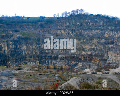 Derbyshire, UK. 06th Jan, 2019. Dangerous old Tarmac Middle Peak Quarry workings  near an abandoned light blue Ford Fusion + car parked at Stoney Wood entrance, Wirksworth, Derbyshire, since the New Year has been reported to the Police as possible missing persons or abandoned vehicle Credit: Doug Blane/Alamy Live News - Stock Photo