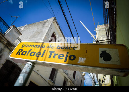 Havana, Havana, Cuba. 9th Oct, 2018. The Rafael Trejo training camp sign in Havana, Cuba which is famous for producing several Olympic champions.Cuban boxers are the most successful in the history of amateur boxing, Cuba has won 32 Olympic boxing gold medals since 1972, .In 1962, professional boxing in Cuba was banned by Fidel Castro. As a consequence of Castro's ban, if fighters want to pursue their dream of becoming world champions they have to make the heartbreaking decision to defect from the country and It can be very tough for them because they are excommunicated and separated from - Stock Photo