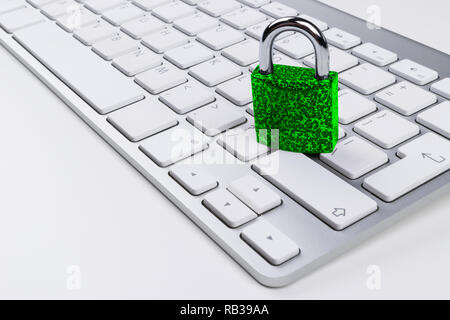 Locked computer safe from virus or malware attack. Laptop computer being protected from online cyber crime and hacking. Computer security concept with - Stock Photo