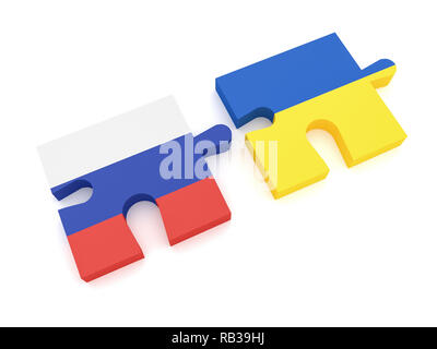 Russia And Ukraine: Russian Flag And Ukrainian Flag Puzzle Pieces, 3d illustration on white background - Stock Photo