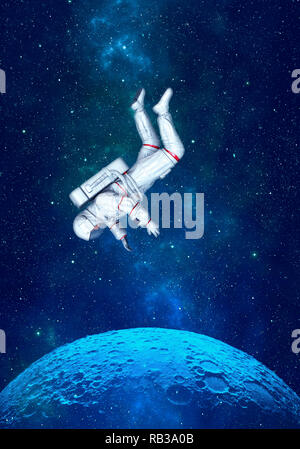 Astronaut floating in space above moon. 3D rendering. - Stock Photo