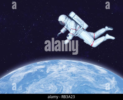 Astronaut in space, Planet Earth in background. Elements of this image furnished by NASA. 3D rendering. - Stock Photo
