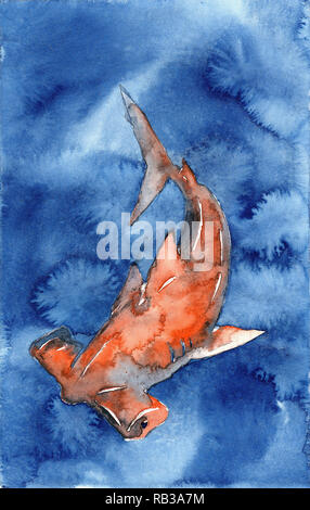 Hammerhead shark swimming in blue ocean water- fine art watercolor painting of hammerhead shark - Stock Photo