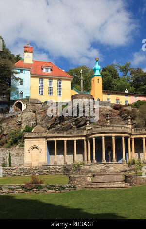 Portmeirion Village, Gwynedd, North Wales, Wales, United Kingdom - Stock Photo