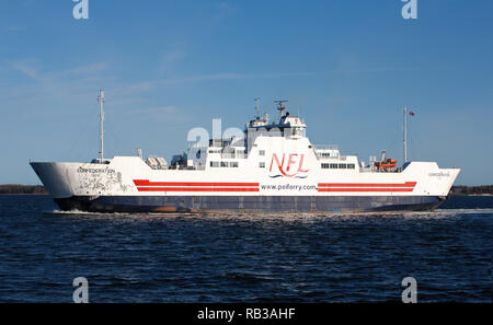 CARIBOU, CANADA - MAY 08, 2015: MV Confederation ferry crossing between PEI and NS. Northumberland Ferries Limited is a Canadian ferry company with it - Stock Photo