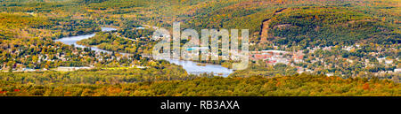 Aerial view of the City of Port Jervis, NY - Stock Photo
