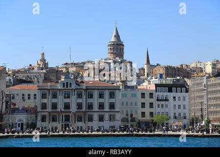 Galata Tower, Golden Horn, Beyoglu District, Istanbul, Turkey, Europe - Stock Photo