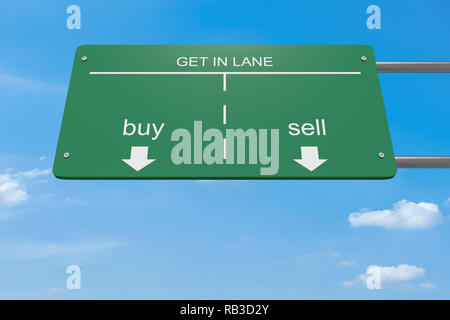 Get In Lane Business Concept: Buy Or Sell Road Sign, 3d illustration - Stock Photo