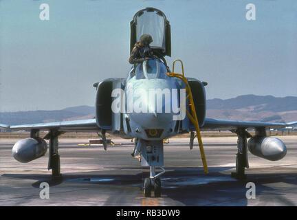 McDonnell Douglas F4 Phantom II Super Sonic Fighter Airplane, Viet Nam Era Airplane - Stock Photo