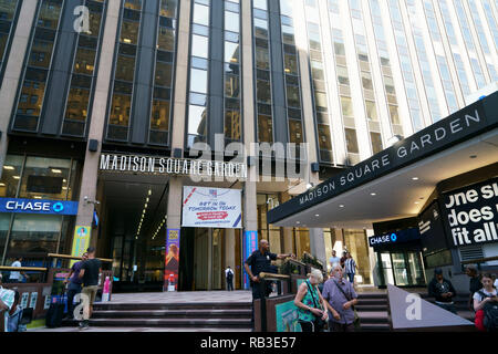 Exterior view of Madison Square Garden on 7th Avenue.Midtown Manhattan.New York City.USA - Stock Photo
