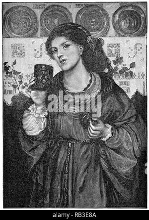 1884 engraving of the 1867 painting The Loving Cup by Dante Gabriel Rossetti. The model is Alexa Wilding. Engraved by James Davis Cooper. - Stock Photo
