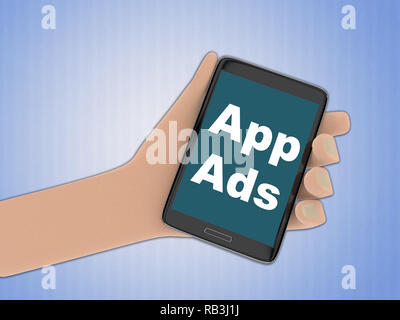 3D illustration of App Ads on the screen of a cellulr phone held by hand, isolated on pale blue gradient. - Stock Photo