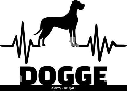 Heartbeat pulse line with Great Dane dog silhouette german - Stock Photo