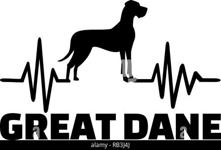Heartbeat frequency with Great Dane dog silhouette - Stock Photo
