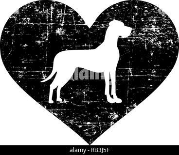 Great Dane silhouette in black heart - Stock Photo