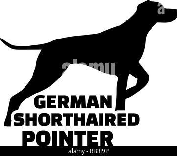 German shorthaired pointer silhouette with word - Stock Photo