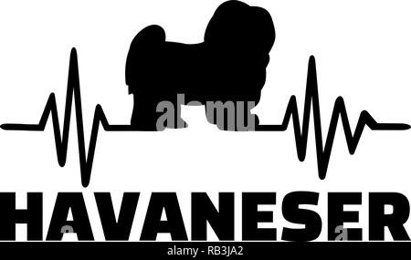 Heartbeat pulse line with Havanese dog silhouette german - Stock Photo