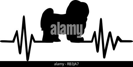 Heartbeat pulse line with Havanese dog silhouette - Stock Photo