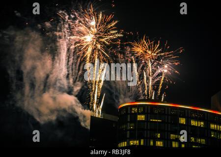 New year firework show of 2019 in Melbourne,Victoria Australia. - Stock Photo