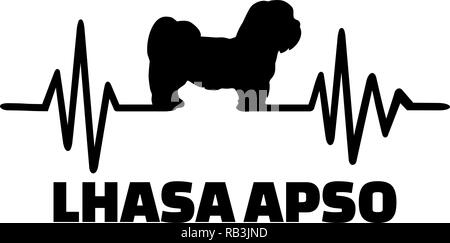 Heartbeat pulse line with Lhasa Apso dog silhouette - Stock Photo