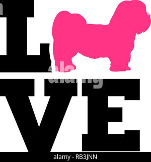 Lhasa Apso love word with silhouette - Stock Photo