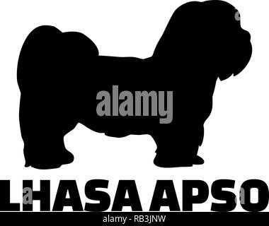 Lhasa Apso silhouette real with word - Stock Photo