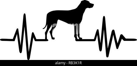 Heartbeat frequency with Rhodesian Ridgeback dog silhouette - Stock Photo