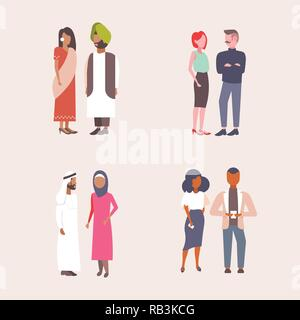 set mix race business couples standing together men women communication concept ethnic businessmen and businesswomen collection flat isolated - Stock Photo