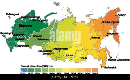 Map Of Time Zones By Russia Standart Time Gmt Utc Rb3mph Jpg