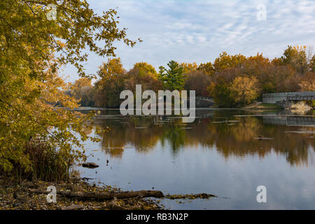 Autumn on the Dupage River in Channahon, Illinois, USA - Stock Photo