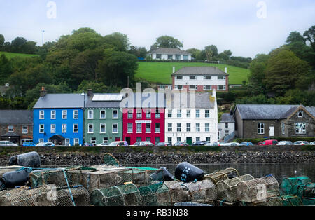 Colourful houses overlooking the harbour in Bantry, County Cork, Ireland. - Stock Photo