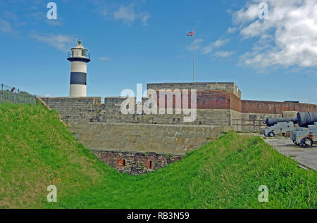 Southsea Castle, and Light House, Portsmouth, Hampshire - Stock Photo