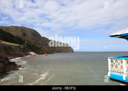 View of Great Orme from pier, Llandudno, Conwy County, North Wales, Wales, United Kingdom, Europe - Stock Photo