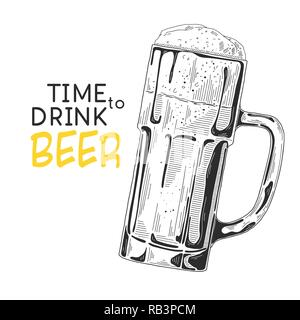 Sketch of a glass of beer. Text: Time to drink beer. Vector illustration of a sketch style. - Stock Photo