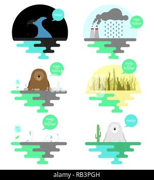 Illustration on the theme of global warming. Illustration on the theme of pollution of the ocean and pollution the planet. Vector - Stock Photo