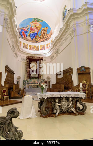 Noto, Sicily, Italy - August 23, 2017: Main altar of the historic baroque cathedral called Basilica Minore di San Nicolo - Stock Photo