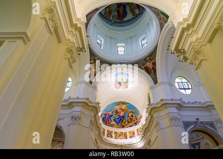 Noto, Sicily, Italy - August 23, 2017: Ceiling paintings in the historic baroque cathedral called Basilica Minore di San Nicolo - Stock Photo