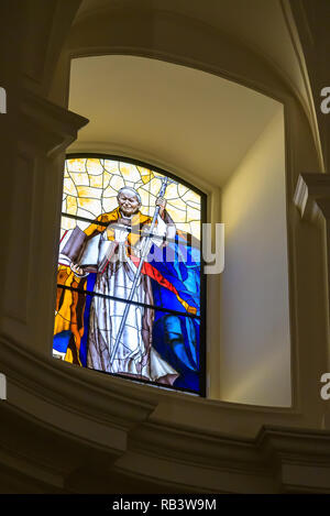 Noto, Sicily, Italy - August 23, 2017: Stained glass window with the image of John Paul II in the historic baroque cathedral called Basilica Minore di - Stock Photo