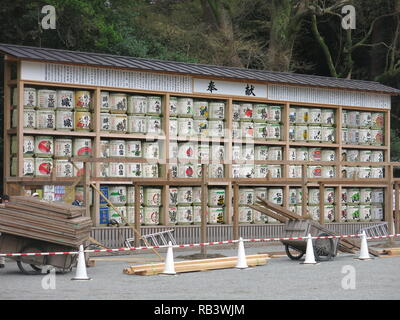 Photo of the highly decorated sake barrels, on display at Tsurugaoka Hachimangu Shinto Shrine, Kamakura, Japan - Stock Photo