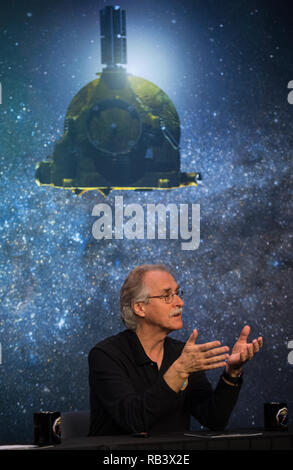 New Horizons co-investigator John Spencer of the Southwest Research Institute during the press conference before the expected flyby of Ultima Thule by the spacecraft at Johns Hopkins University Applied Physics Laboratory December 31, 2018 in Laurel, Maryland. The flyby by the space probe occurred 6.5bn km (4bn miles) away, making it the most distant ever exploration of an object in our Solar System. - Stock Photo
