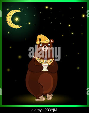 illustration of cute cartoon bear character in sleeping hat and slippers, holding cup with hot drink on night background with glowing stars and moon o - Stock Photo