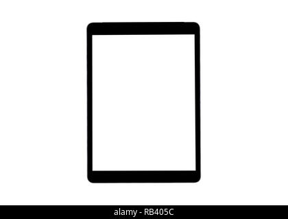 Tablet computer with blank screen mock up isolated on white background. Tablet computer. tablet white screen. Empty space for text. Blanc empty screen - Stock Photo