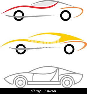 Three variants of modern car logo. Vector icons isolated on a white background. - Stock Photo