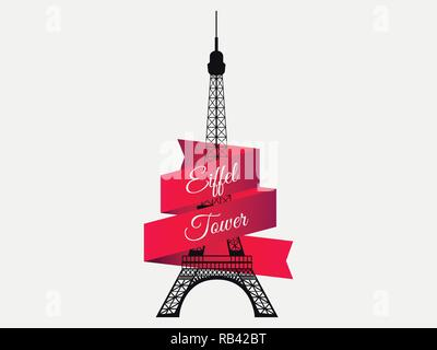 Eiffel Tower with ribbon. The symbol of France, a landmark of Paris. Vector illustration - Stock Photo